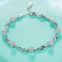 925 Silver Zircon Amethyst Beads Bracelet Charms Women Wedding Jewelry Gift Lot