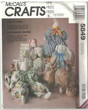 """5849 UNCUT Vintage McCalls Sewing Pattern 22"""" Stuffed Block Animals Clothes OOP"""