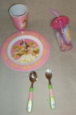 EUC Disney Princess Toddler Feeding Set : Plate Cups Silverware Bowl