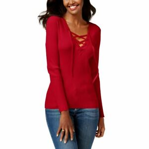 INC NEW Women's Solid Lace-up Ribbed V-Neck Sweater Top TEDO
