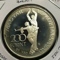1980 HUNGARY SILVER PIEDFORT 200 FORINT  PROOF BRILLIANT UNCIRCULATED CROWN COIN