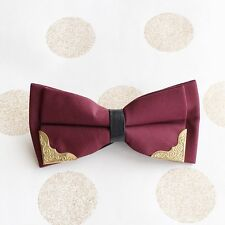 Charming Mens Polyester Gold Color Metal Tuxedo Formal Wedding Bow Ties