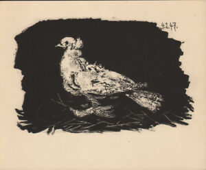 PABLO PICASSO - DOVE ON BLACK BACKGROUND * RARE EAST GERMAN GDR HELIOGRAPHY 1956