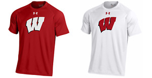 Wisconsin Badgers Mens Under Armour Sideline Tech Heatgear T-Shirt - 2XL - NWT