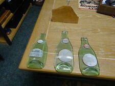 Vintage Dr Pepper Green Bottles( 2) 6oz and 1 10 oz flattened  wind chime cool