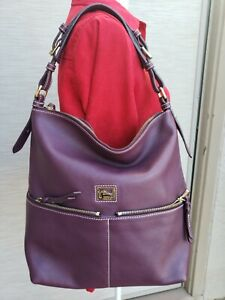 Dooney & Bourke Dillen Purple Double Pocket Leather Satchel Purse