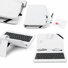 7-inch PU Leather Case in White w/ QWERTY Keyboard for GoClever Quantum 700, 800