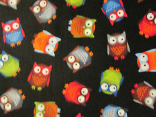 OWL HOOT MULTI COLORED OWLS BLACK COTTON FABRIC FQ