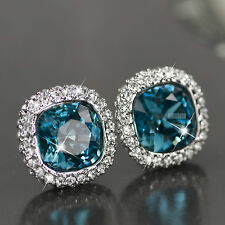 18k white gold gf made with blue SWAROVSKI crystal stud wedding party earrings