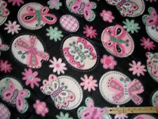 Pink & Black Butterfly Fleece Fabric  by the Yard   BTY