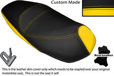 BLACK & YELLOW CUSTOM FITS PIAGGIO CARNABY 125 DUAL LEATHER SEAT COVER