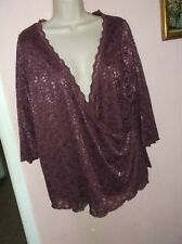 JESSICA LONDON WOMEN'S SIZE 18/20 1X PINK LACE CRISS CROSS TOP LACE OVER SHELL