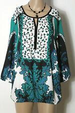 Bluse Gr. 40 weiß-grün-schwarz 3/4-Arm Chiffon Muster Hüft Bluse