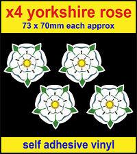 4 x Yorkshire Rose stickers, self adhesive vinyl laptop door decals county badge