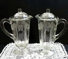 """2 x Depression Glass Mint / Syrup Jug """" OWL & FEATHER ' Aust.Crown Crystal Glass"""