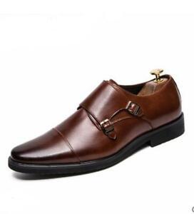 Mens Cap Toe Monk-Strap Formal Dress Shoes Black Brown British Style Tuxedo Shoe