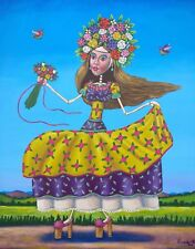 Big Mexican lady Painting German Rubio Folk Art girl crowned with flowers