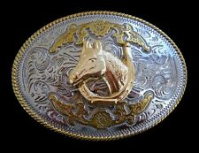 TWO TONED HORSE HORSEHEAD WESTERN BELT BUCKLE BUCKLES