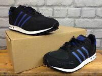 ADIDAS MENS UK 5 EU 38 BLACK BLUE LA TRAINER TRAINERS RRP £75