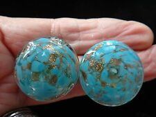 Gorgeous Clip Earrings Venetian Murano Blue  Sparkling Gold Glass Italy VINTAGE