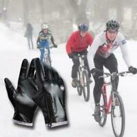 Winter Men Gloves Faux Leather Screen Warm Windproof Non-Slip Waterpr K2Q3
