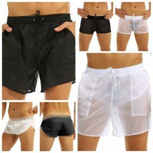 Men See Through Boxer Briefs Drawstring Quick Dry Beach Shorts Pants Swimwear