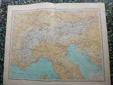 Carte géographique couleur de 1908: LES ALPES