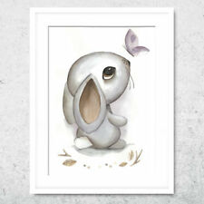 Bild Kunstdruck A4 Hase watercolor Kinderzimmer Deko Geschenk