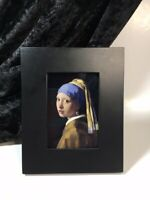 """Girl with Pearl Earring Vermeer Painting Art Print Framed Mini Small Size 4""""x5"""""""