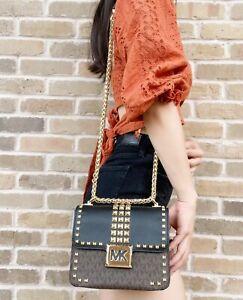 Michael Kors Sonia Small Shoulder Bag Crossbody Brown MK Signature Black Studded