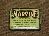 "VINTAGE MEDICINE 1 3/4"" ACROSS MARVINE HEADACHES PAINS  TIN CAN BOX  *EMPTY*"