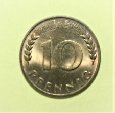 Germany 10 Pfennig 1950-G Brilliant Uncirculated Coin - Five Oak Leaves