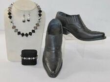 A21 6.5 Women Aerosols Black Leather Ankle Booties Chunky Heel + Jewelry Lot GWP