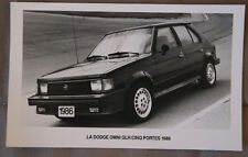 DODGE OMNI GLH 5 doors 1985 Official Photo - French - Canada - ST501001117