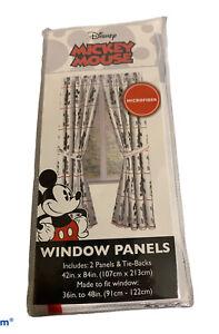"Disney Mickey Mouse Curtains Window Panels 42""x 84"" set of 2 Jay Franco new"