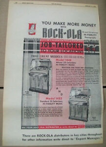 Rock-ola 1448 and 1452 phonograph 1956 Ad- job-tailored to your location