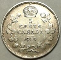 1919 CANADA SILVER FIVE CENTS Coin