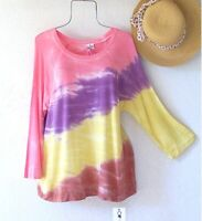 New~$58~Sunset Lilac Yellow Coral Pullover Shirt Blouse Boho Top~Size Large L