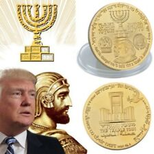 2018 King Cyrus Donald Trump Gold Plated Coin Jewish Temple Jerusalem Israel 1PK