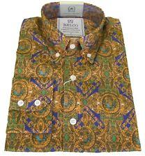 Hombre Platino Oro Motivo Cachemira Manga Larga 100% Algodón Camisas