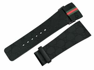Original i-Gucci Digital 114-2 Genuine 26mm Black Rubber with Red & Green Gucci
