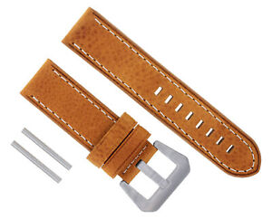 24MM NEW PAM COW LEATHER STRAP WATCH BAND FOR 44MM PANERAI GMT 111 299 TAN WS