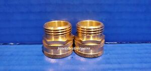 """Brass Garden Hose Swivel Connector 3/4"""" Female GHT X 3/4"""" Male GHT 2 Pack"""