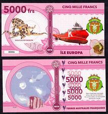 RARE ★ ILE EUROPA ● TAAF / COLONIE ● BILLET POLYMER 5000 FRANCS ★ N.SERIE 000006