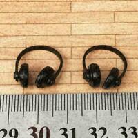 2pcs Miniature Neat Black Plastic Headphones: DOLLHOUSE 1:12 Scale Cute T5I T0X9