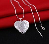 Damen Halskette mit Herz Anhänger Medaillon Blumen zum Öffnen 925 Silber Plated