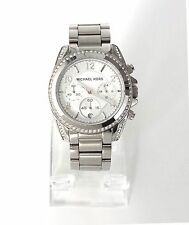 Michael Kors Damen Uhr Chronograph Datum silber Edelstahl Steine MK5165