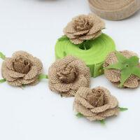 12x Jute Hessian Burlap Flowers Rose Shabby Wedding Party Decoration