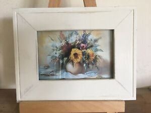 """Pretty Vintage/Shabby Chic Style Floral Picture In Rustic Cream Frame 9.5 X 7.5"""""""