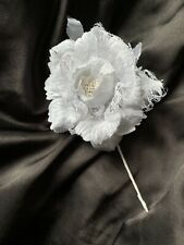 Luxury White Open Rose Beaded Buttonhole Mother Of The Bride/Groom Wedding Guest